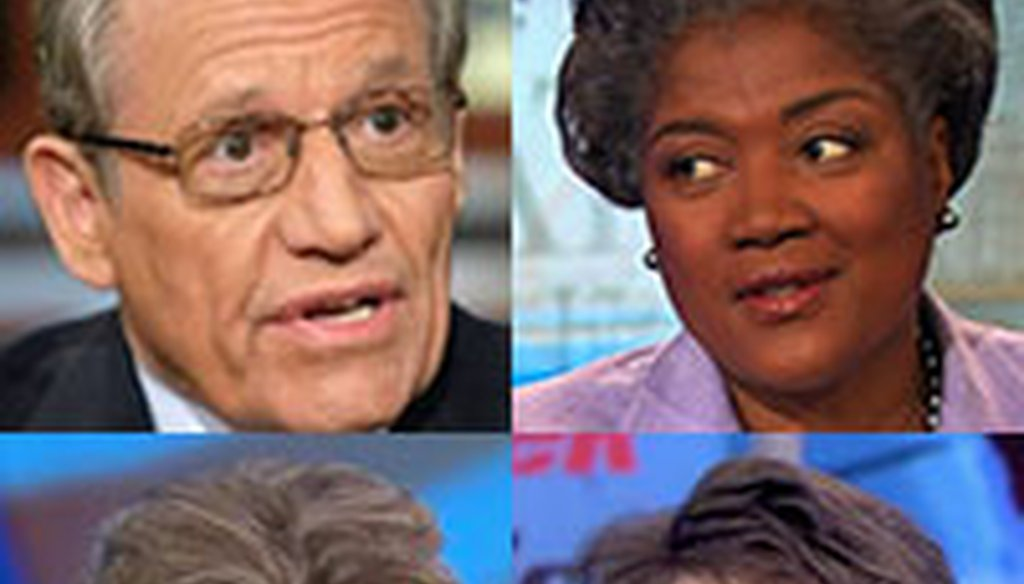 "PunditFact Madness' ""Final 4"" -- Bob Woodward, Donna Brazile, Amy Walter and Cokie Roberts."
