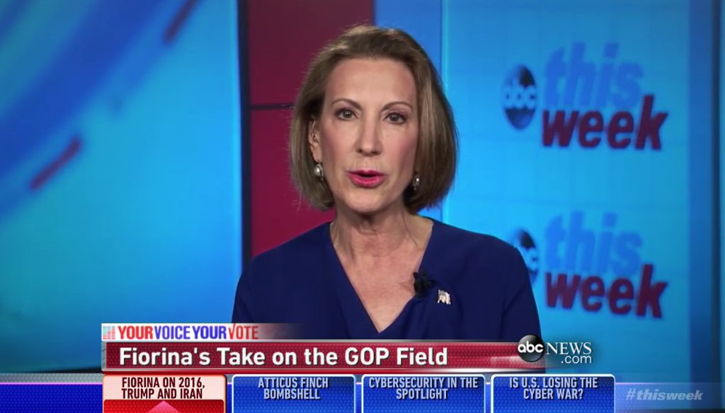 """Carly Fiorina on ABC's """"This Week,"""" July 12, 2015. (Screen grab)"""