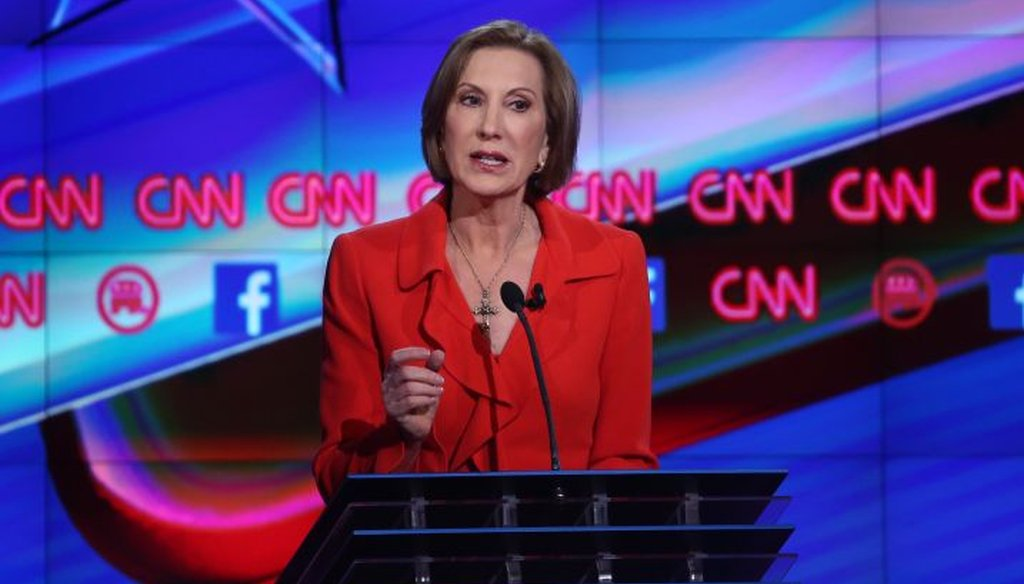 Republican presidential candidate Carly Fiorina speaks during the CNN Republican presidential debate on Dec. 15, 2015 in Las Vegas. (Getty)