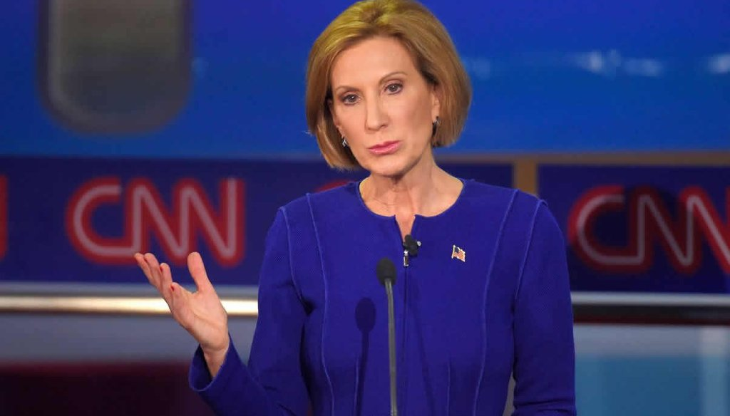 Republican presidential candidate Carly Fiorina makes a point during the CNN Republican presidential debate at the Ronald Reagan Presidential Library and Museum Sept. 16, 2015, in Simi Valley, Calif. (AP Photo/Mark J. Terrill)