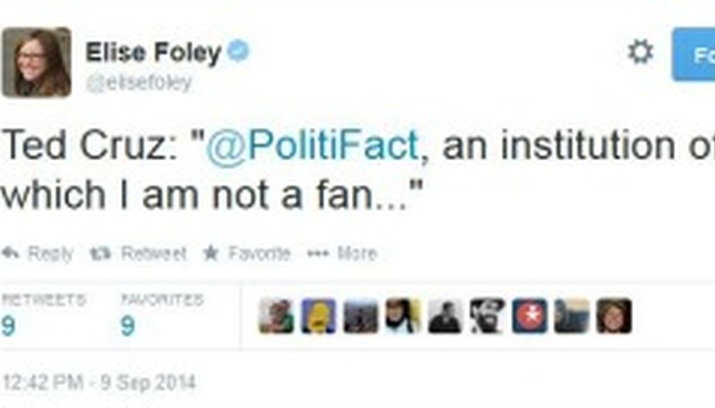 This tweet alerted us to Sen. Ted Cruz invoking PolitiFact Sept. 9, 2014.