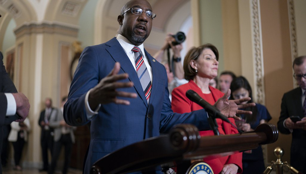 Sen. Raphael Warnock, D-Ga., joined at right by Sen. Amy Klobuchar, D-Minn., speaks with reporters before a key test vote on the For the People Act on June 22, 2021. (AP)