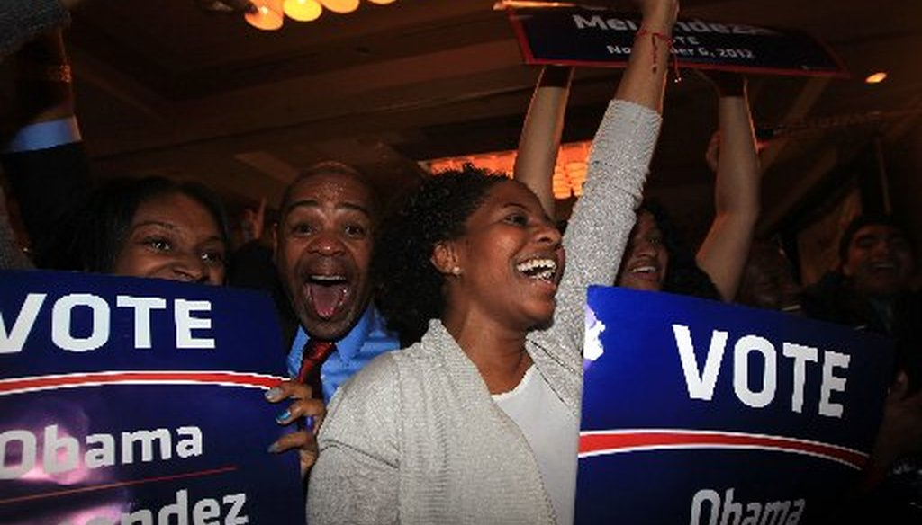 Supporters cheer at U.S. Sen. Robert Menendez's election night headquarters.