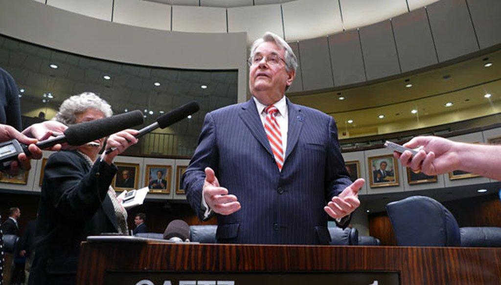 Sen. Don Gaetz, R-Niceville, talks to the media on the Senate floor on March 9, 2016. (Scott Keeler/Tampa Bay Times photo)