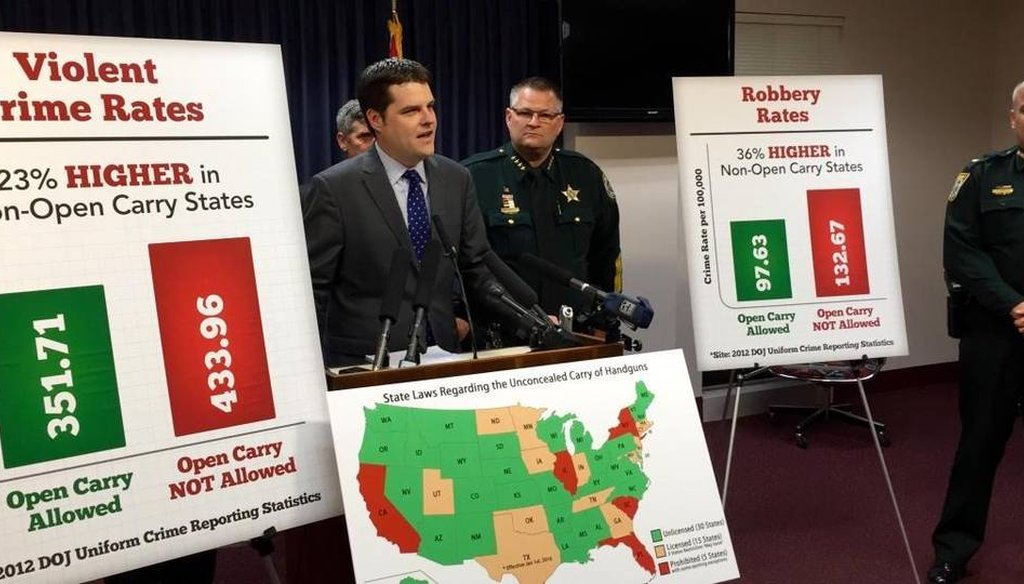 State Rep. Matt Gaetz, R-Fort Walton Beach, joined by Brevard County Sheriff Wayne Ivey, speaks about his bill that would allow concealed-carry permit-holders to openly carry their weapons in Florida during a press conference Oct. 6, 2015. (Miami Herald)