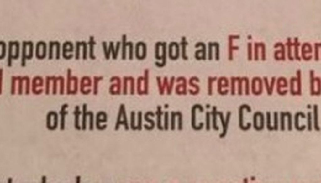 Sheri Gallo, an Austin City Council member, made a Pants on Fire claim (shown here) about challenger Alison Alter in this November 2016 mailer (excerpted from a Facebook post Nov. 29, 2016).