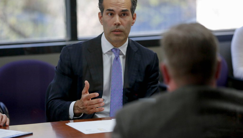 Texas Land Commissioner George P. Bush speaks with members of the Austin American-Statesman's Editorial staff [JAMES GREGG/AMERICAN-STATESMAN].