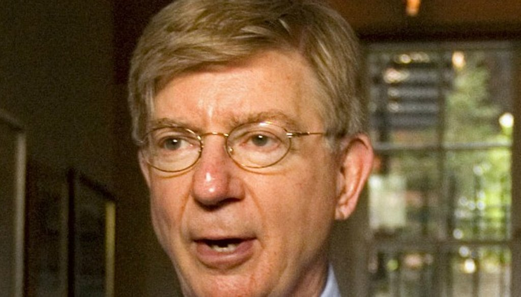 Commentator George Will, shown here in 2008, changed his 2016 voter registration from Republican to unaffiliated, PolitiFact Texas confirmed (Photo by The Associated Press).
