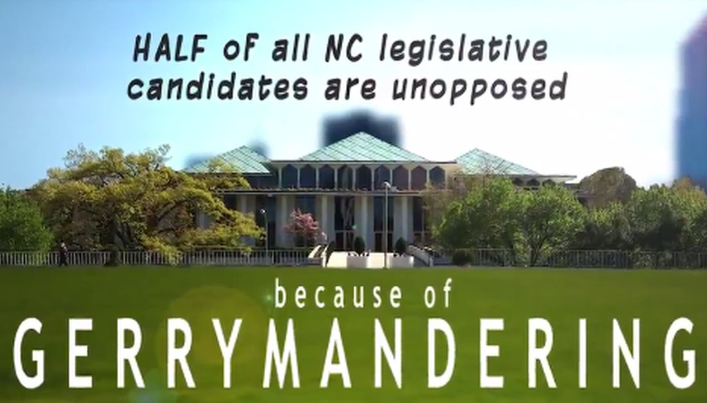 A screenshot of a video from Common Cause NC shows the claim about North Carolina elections