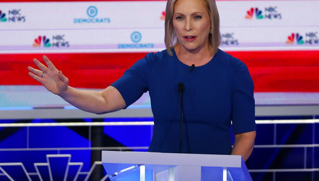 Democratic presidential candidate Sen. Kristen Gillibrand, D-N,Y., speaks during the Democratic primary debate, Thursday, June 27, 2019, in Miami (AP).