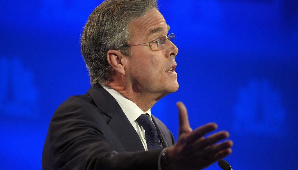 Republican presidential candidate, former Florida Gov. Jeb Bush speaks during the CNBC Republican presidential debate at the University of Colorado, Wednesday, Oct. 28, 2015, in Boulder, Colo. (AP)