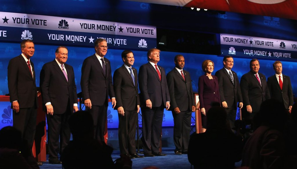 The Republicans appear at the CNBC Republican presidential debate on Oct. 28, 2015, in Boulder, Colo. (AP Photo)
