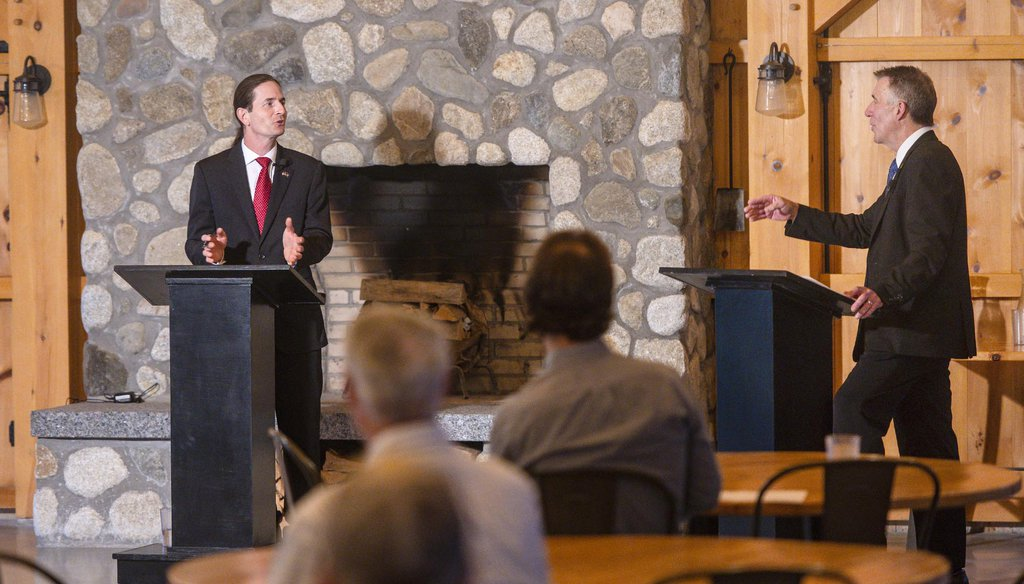 Democratic/Progressive gubernatorial candidate David Zuckerman, left, and Republican Gov. Phil Scott in a debate sponsored by VTDigger on Sept. 29. Photo by Glenn Russell/VTDigger
