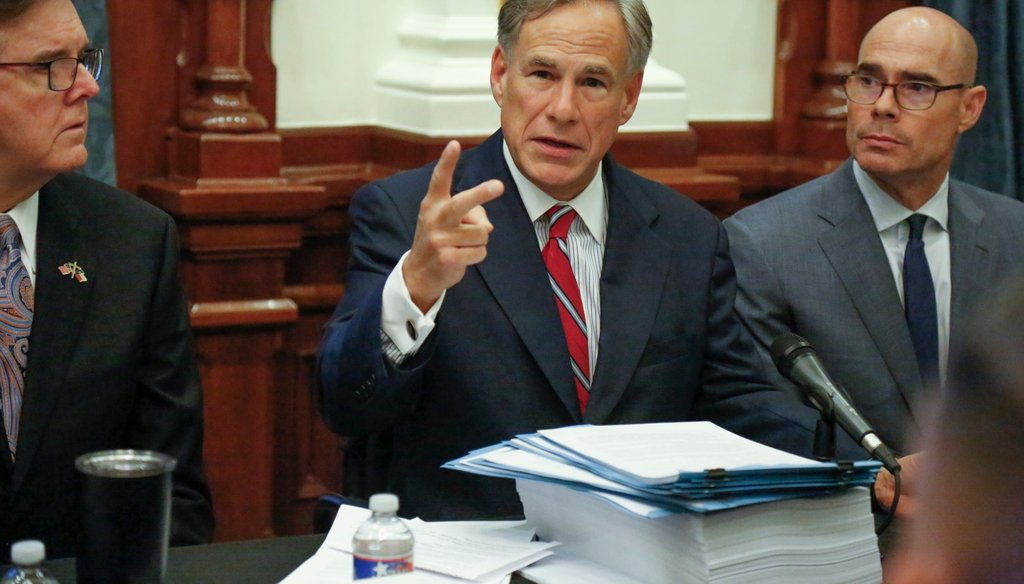 Texas Gov. Greg Abbott speaks at a commission meeting at the Texas Capitol. [JAMES GREGG/AMERICAN-STATESMAN]