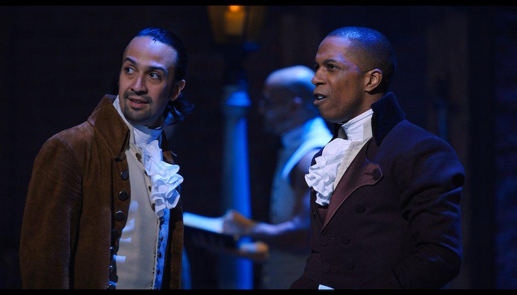 "Lin-Manuel Miranda as Alexander Hamilton and Leslie Odom Jr. as Aaron Burr in ""Hamilton,"" the filmed version of the Broadway musical. (Disney+)"