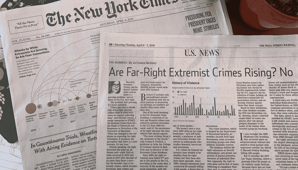 Coverage in the April 6, 2019, editions of the New York Times and Wall Street Journal uses different frames for far-right extremism. (PolitiFact Photo)