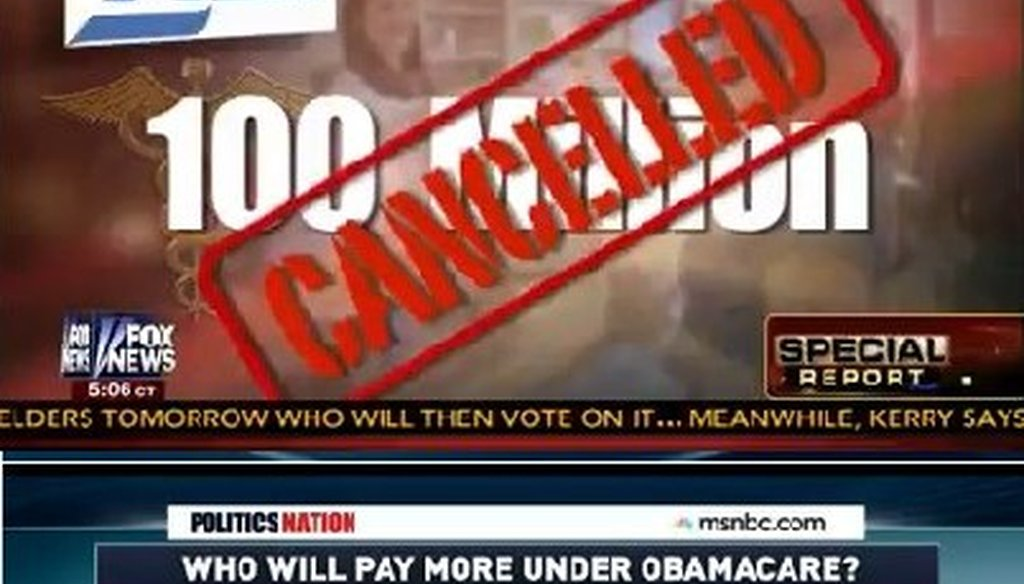 Two graphics aired within 20 seconds of each other on Fox News and MSNBC highlight the confusion in understanding the effects of the health care law.