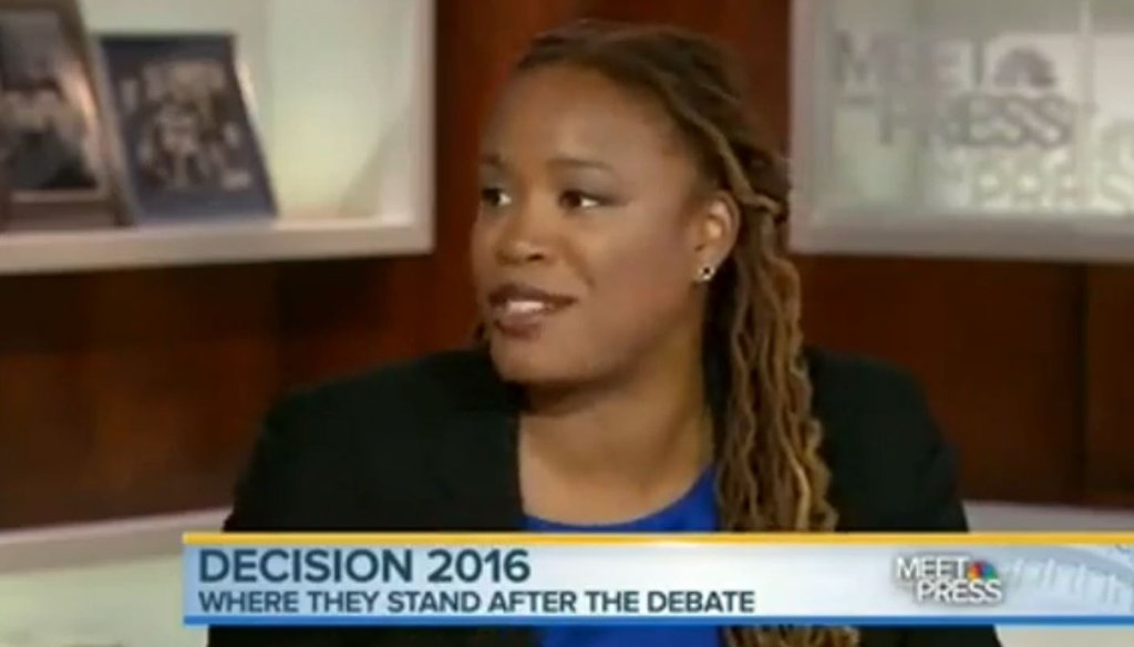 """Heather McGhee, a Democratic pundit and president of Demos, talks about the Republican Party's disconnect with women on Aug. 9, 2015, on """"Meet the Press."""""""