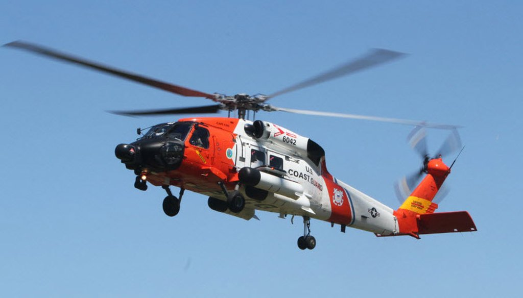 Coast Guard rescue helicopter, on a mission in Rhode Island in 2013.