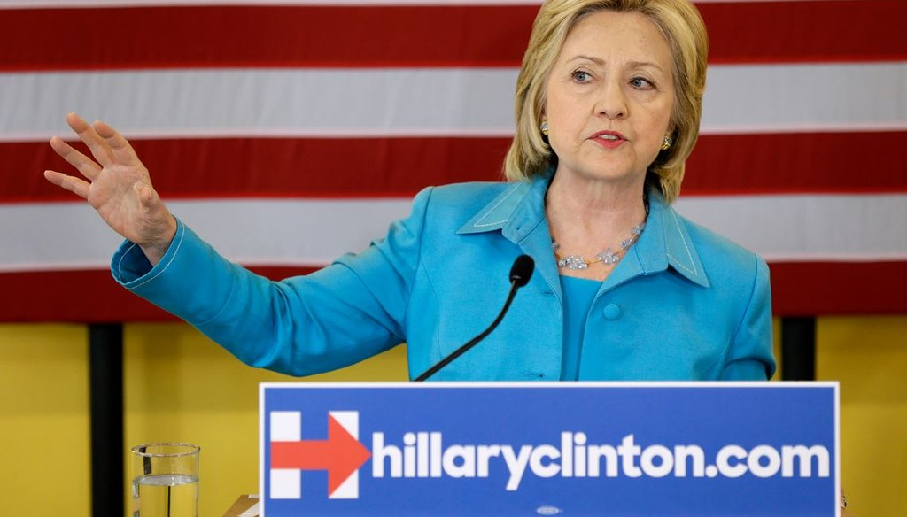 Democratic presidential candidate Hillary Clinton speaks about her renewable energy plan July 27, 2015,  in Des Moines, Iowa. (AP Photo/Charlie Neibergall)