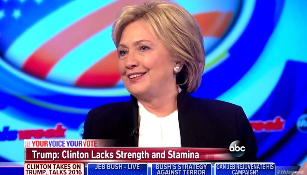 """""""This Week"""" host George Stephanopoulos interviews Democratic presidential candidate Hillary Clinton on Dec. 6, 2015. (Screengrab)"""