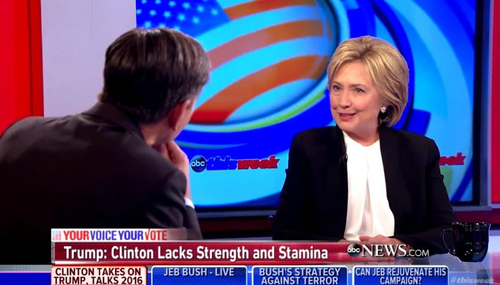 "Democratic presidential candidate Hillary Clinton discusses gun background checks on ABC's ""This Week with George Stephanopoulos"" on Dec. 6, 2015. (Screengrab)"