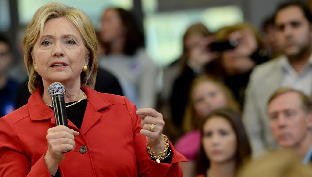 """Democratic Presidential candidate Hillary Clinton speaks at a town hall event at Manchester Community College October 5, 2015 in Manchester, N.H., sponsored by the """"Today"""" show. (Getty)"""