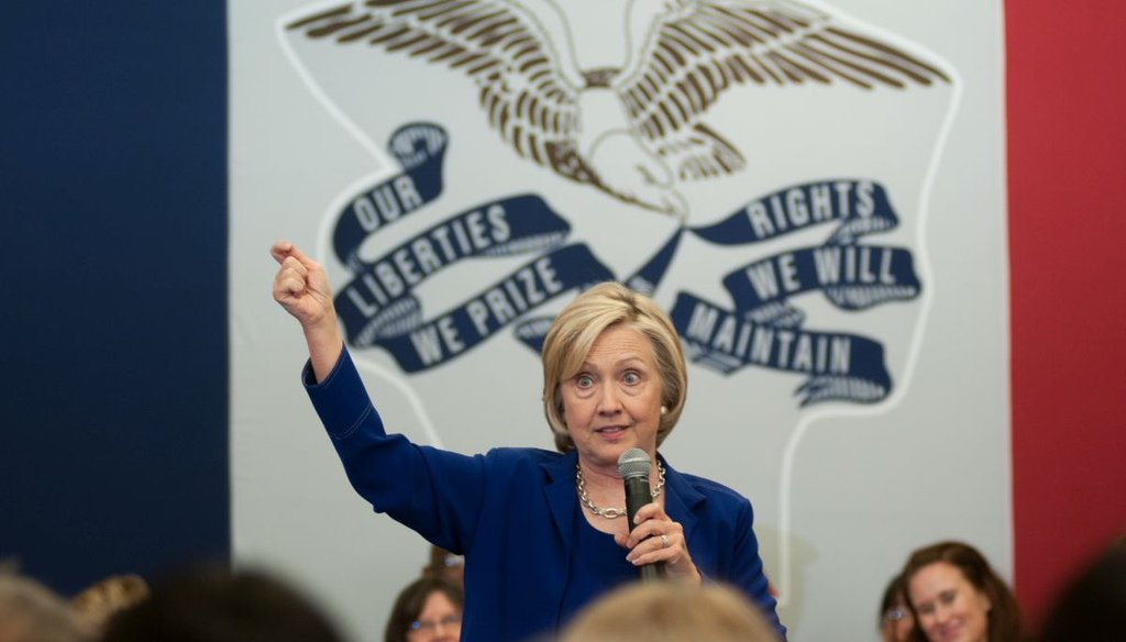 Former Secretary of State and Democratic presidential candidate Hillary Clinton addresses supporters at an organizational rally on July 7, 2015 at the Iowa City Public Library in Iowa City, Iowa. Getty.