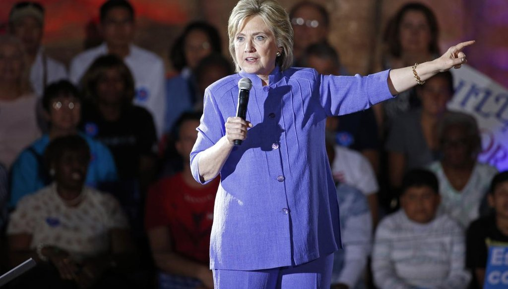 Democratic presidential candidate Hillary Clinton speaks at a rally Wednesday, Oct. 14, 2015, in Las Vegas. (AP Photo/John Locher)