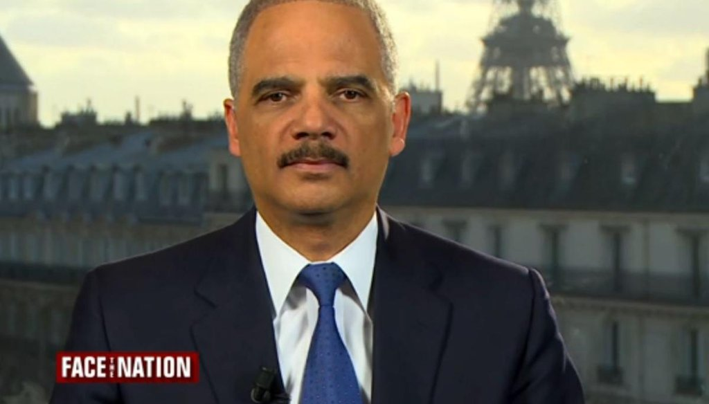 Attorney General Eric Holder gave cautious answers as TV hosts asked him about the attacks in Paris and an investigation into former CIA director David Petraeus. Screenshot.