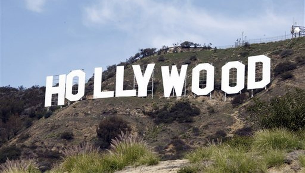 This file photo taken Jan. 29, 2010, shows the Hollywood sign in the Hollywood Hills of Los Angeles. (AP/Saxon)