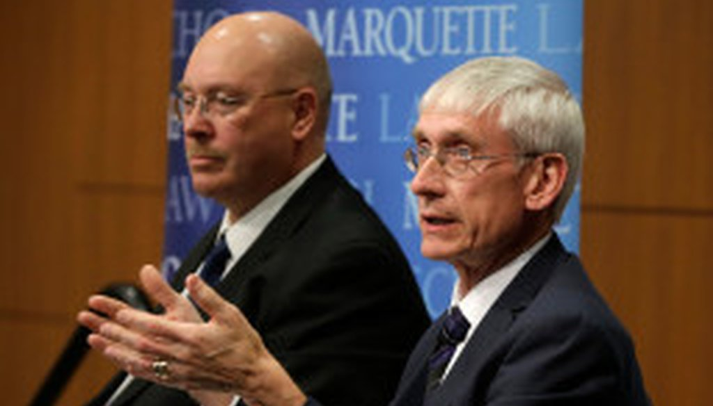 From left Lowell Holtz and Tony Evers, candidates for state superintendent of public instruction, discuss educational issues during a debate at Marquette Law School, Tuesday, March 28, 2017. Rick Wood MJS