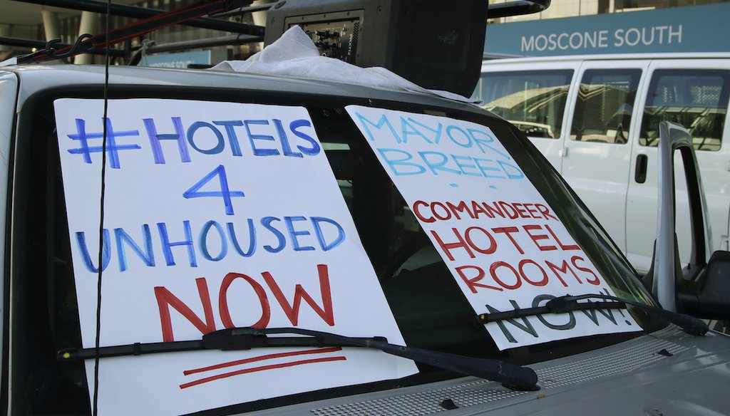 Amid a COVID-19 outbreak in San Francisco in April 2020, activists called on Mayor London Breed to use vacant hotels to house homeless people. (AP)