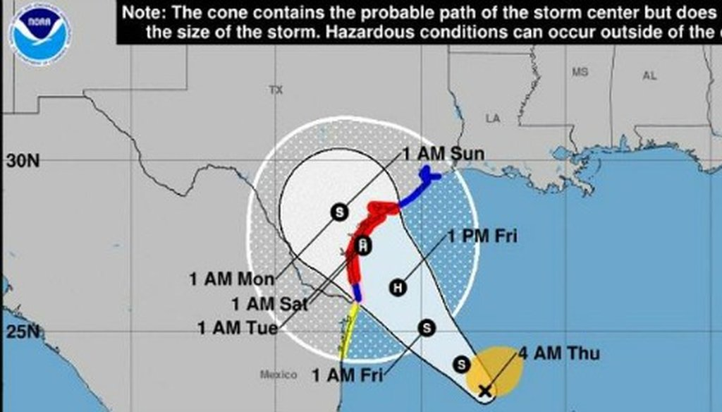 Here's how the federal government was forecasting Hurricane Harvey's path as of the morning of Aug. 24, 2017 (screen shot of Austin American-Statesman website, www.statesman.com).