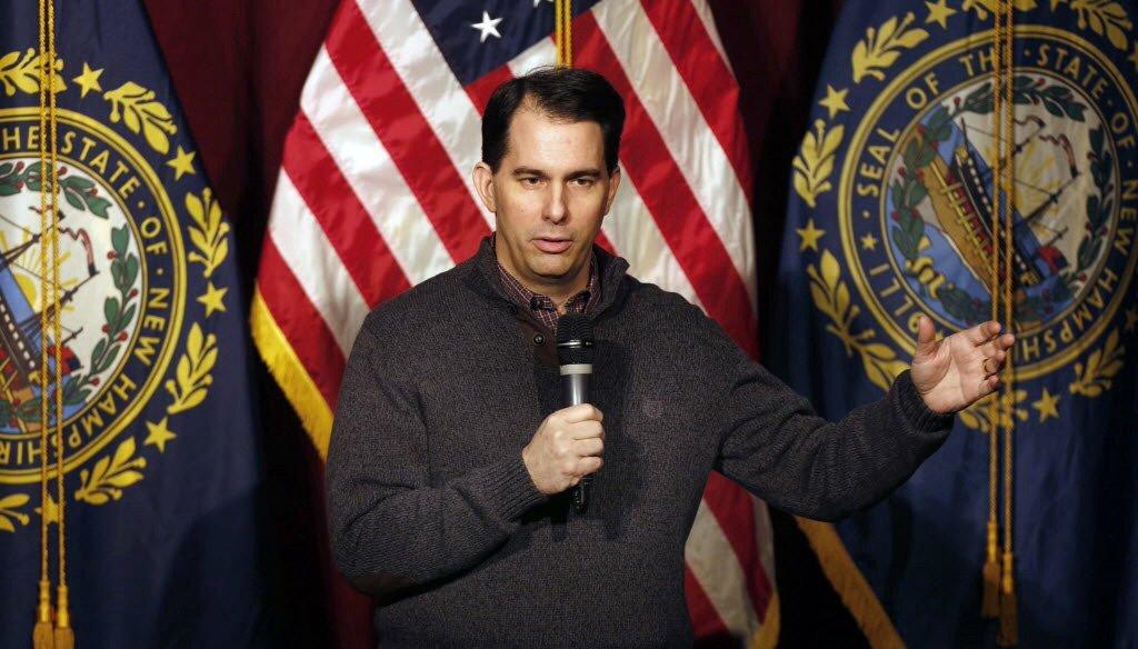 Gov. Scott Walker in the $1 sweater in question. (AP photo)