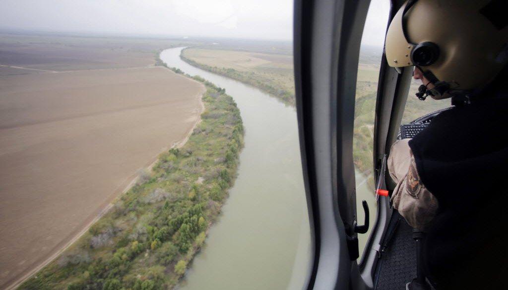In this Feb. 24, 2015 photo, U.S. Customs and Border Protection Air and Marine agents patrol along the Rio Grande on the Texas-Mexico border near Rio Grande City, Texas. AP Photo