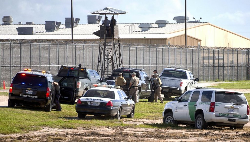 In 2015, law enforcement officials converged on the Willacy County Correctional Center in Raymondville, Texas in response to an uprising at the private immigration detention center. The facility is now closed. (2015 AP file photo)