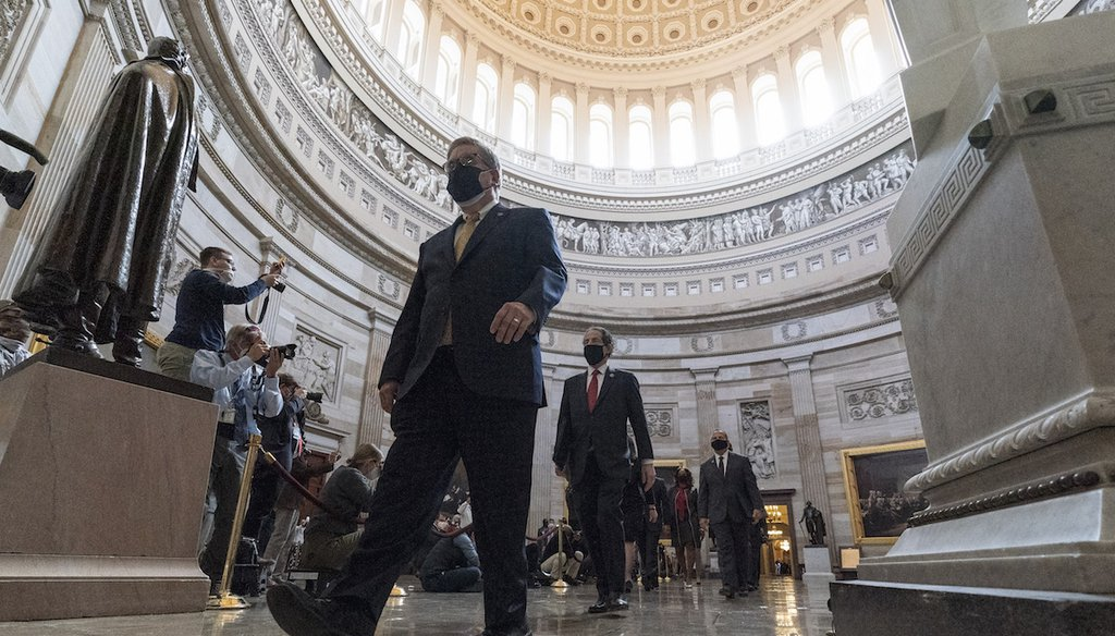 The House impeachment managers walk through the Rotunda to the Senate for the second impeachment trial of former President Donald Trump. (AP Photo/Alex Brandon)