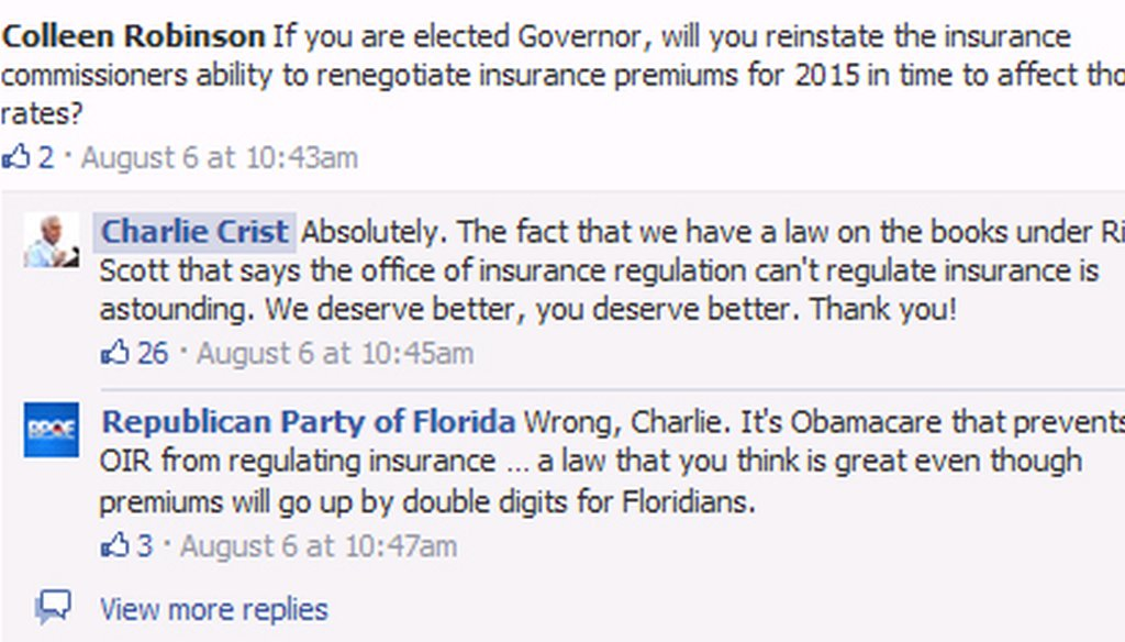 Charlie Crist's vow to change Florida law about insurance regulation during a Facebook Q&A on Aug. 6, 2014, was quickly berated by the Republican Party of Florida.