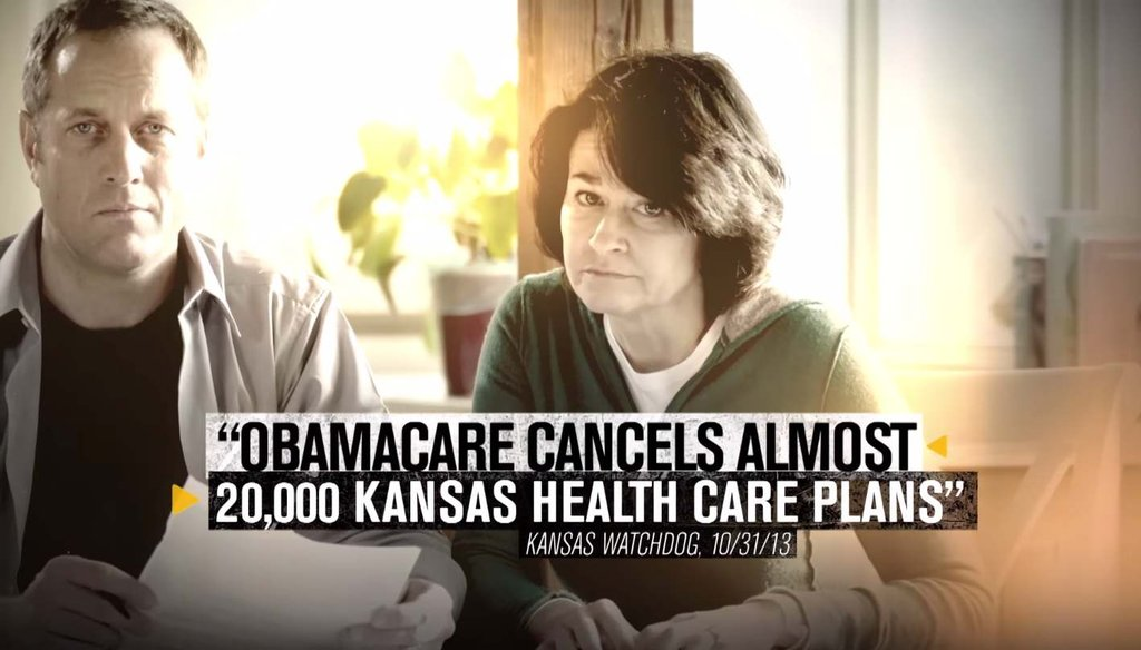 A recent video by Sen. Pat Roberts, R-Kan., attacks his opponent, independent Greg Orman, and says 20,000 Kansans lost their insurance because of the Affordable Care Act.