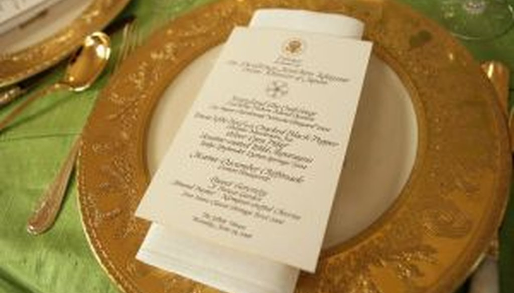 An example of White House calligraphy: a menu from a 2006 state dinner honoring the prime minister of Japan.