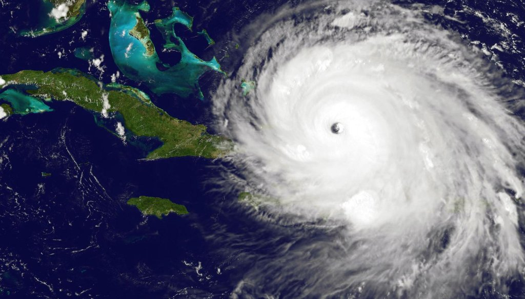 NOAA's GOES satellite shows Hurricane Irma as it moves towards Florida on Sept. 7, 2017.