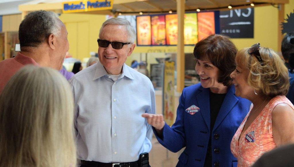Democratic House candidate Jacky Rosen and Senate Minority Leader Harry Reid speak to voters in Henderson, Nev. on June 2, 2016.