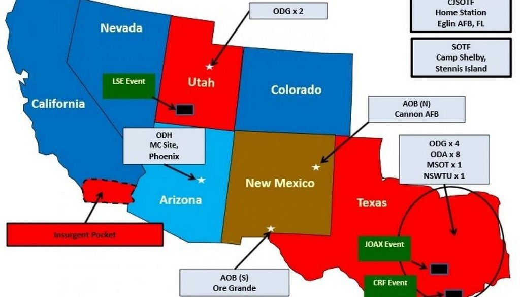 A federal map shows pretend designations of hostile territory for the Jade Helm 15 exercise set to run from July to September 2015. (U.S. Army handout)