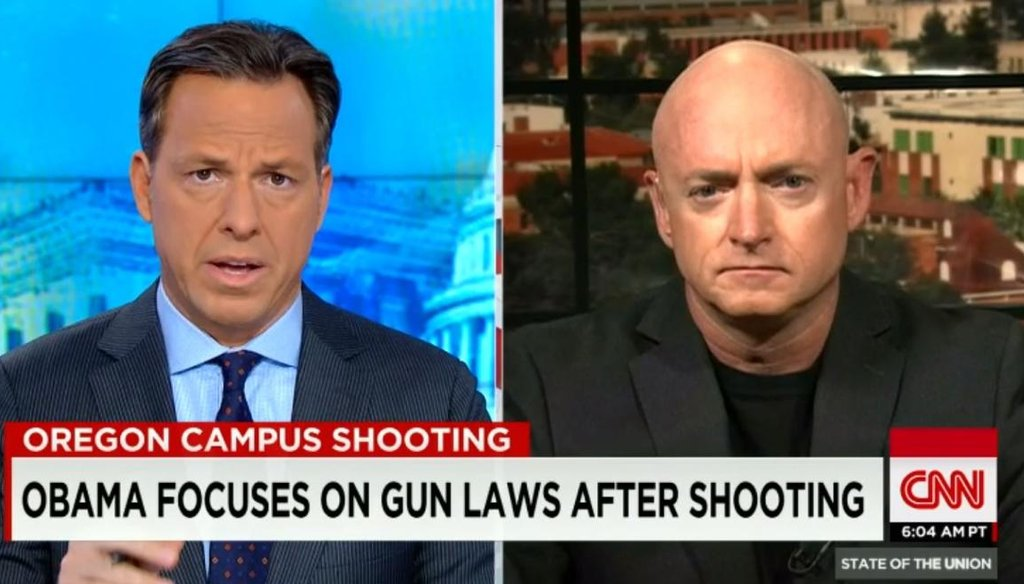 "Jake Tapper kicked off CNN's ""State of the Union"" on Oct. 4, 2015, with an interview featuring Capt. Mark Kelly, an advocate for gun legislation and husband of former Arizona Rep. Gabby Giffords, who survived an assassination attempt near Tucson in 2011."