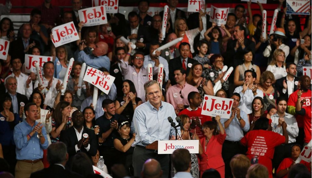 Former Florida Gov. Jeb Bush announces his candidacy for the Republican presidential nomination June 15 , 2015, in Miami. (Photo by Joe Raedle/Getty Images)