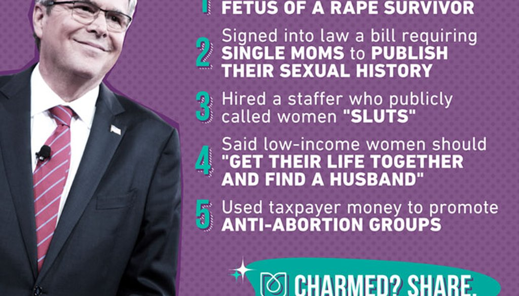 Ultraviolet, a women's rights advocacy group, posted this list about Jeb Bush on Facebook on June 15, 2015. (via Facebook)