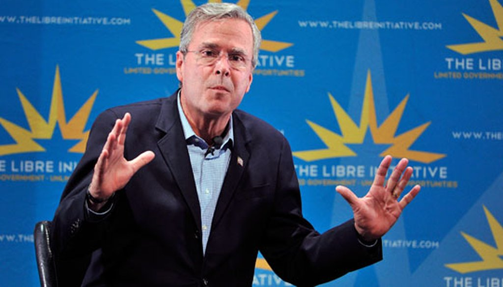 Republican presidential candidate Jeb Bush speaks during the LIBRE Initiative Fourm at the College of Southern Nevada on Oct. 21, 2015, in North Las Vegas, Nev. (Getty Images)