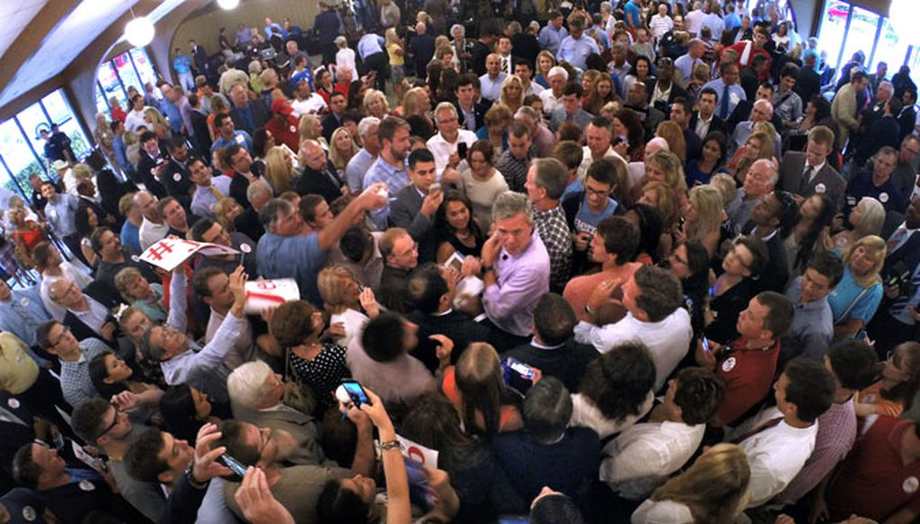 Former Florida Gov. Jeb Bush works the crowd at a campaign rally in Maitland on July 27, 2015. (AP photo)