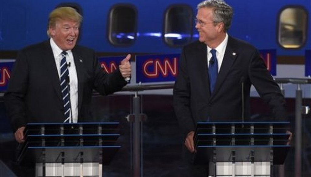 Former Florida Gov. Jeb Bush attacked front runner Donald Trump during the CNN debate Sept. 16, 2015.